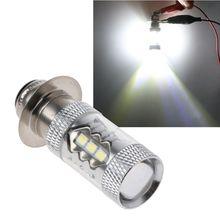 PX15D H6 80W 6500K 16 светодиодный белый головной светильник, противотуманный светильник, лампа для вождения мотоцикла, велосипеда