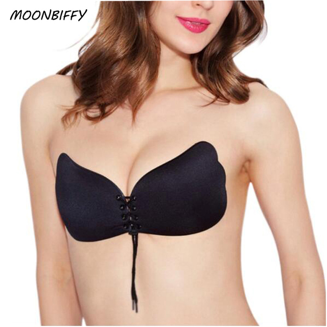 80eb4effff MOONBIFFY Sexy Self Adhesive Strapless Bra Bandage Stick Gel Silicone Push  Up Invisible Seamless Backless Bra 2 styles