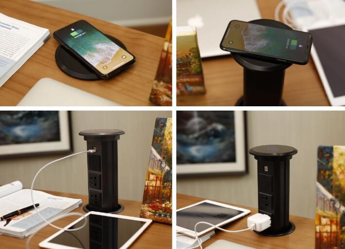 LED interrupteur électrique prise usb téléphone motorisé pop up prise avec chargeur USB intégré haut-parleur Bluetooth chargeur sans fil haut-parleur