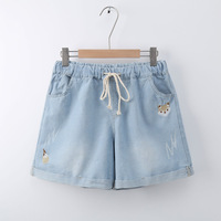 2018 New Fashion Womens Jeans Summer Embroidery Pattern Stretch Denim Shorts Loose Casual Women Jeans Shorts