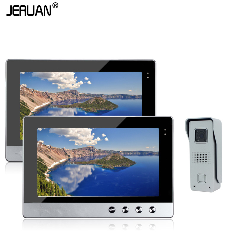 JERUAN  Home Security Wired 10 Color Video Door Phone Intercom System / Kit + Two Monitors + 1 Outdoor Camera In Stock