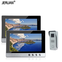 JERUAN  Home Security Wired 10″ Color Video Door Phone Intercom System / Kit + Two Monitors + 1 Outdoor Camera In Stock
