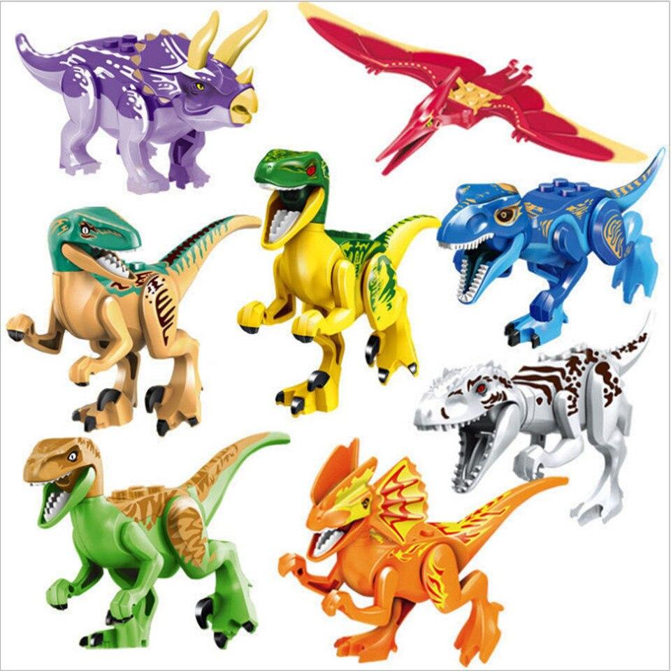 8ピース/セットブロックミニ恐竜ブロックビルディングブロックレンガIndominus Rex恐竜のおもちゃ子供のためのT-rexおもちゃレンガpartes delケーブル同軸