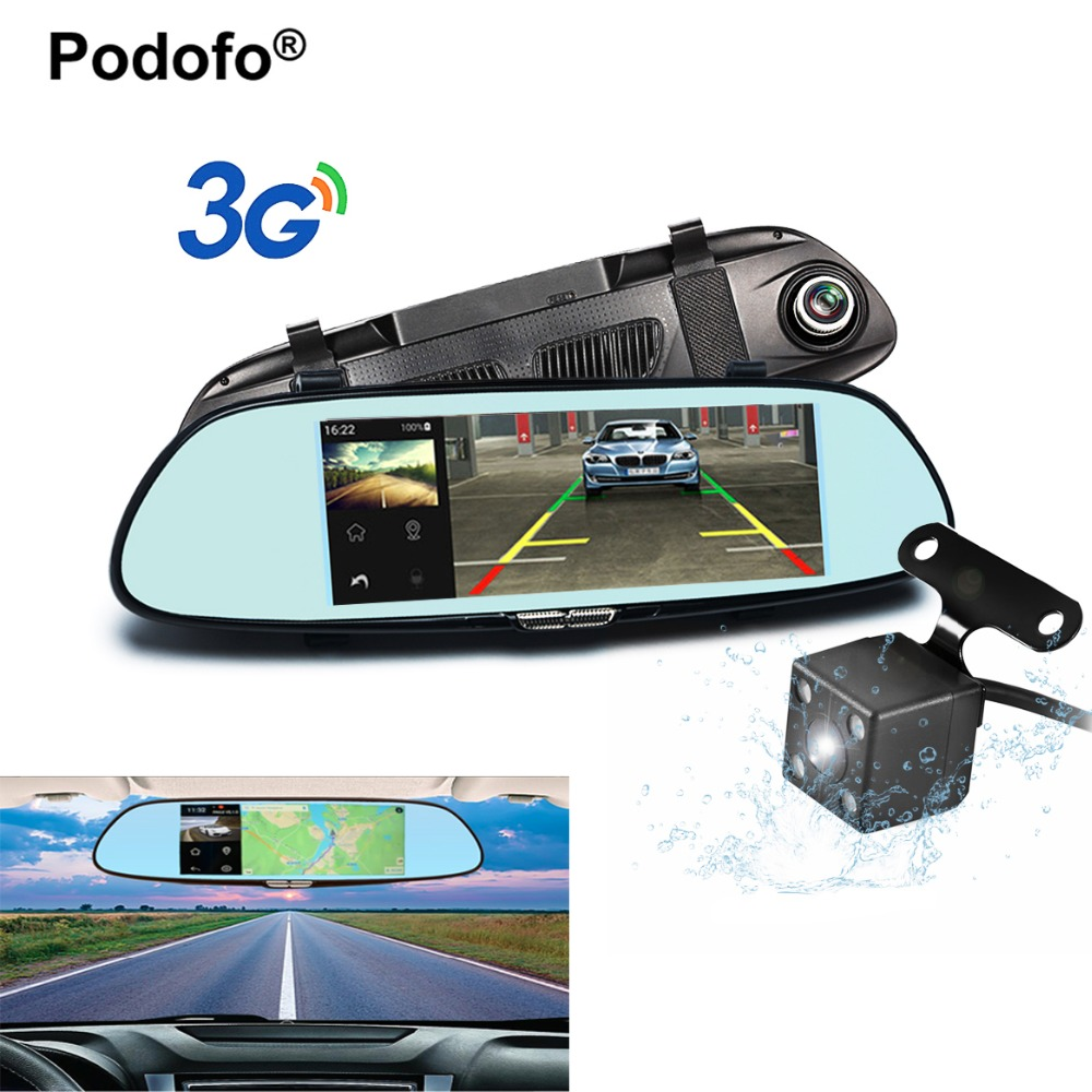 Podofo 7 Touch 3G Car Camera with Smart Rearview Mirror Monitor Dual Lens DVR Registrar 1080P Video Recorder Dashcam Car Dvrs 6000a 1080p 3 0mp 720p 1 3mp car dvr camcorder w 4 3 tft rearview mirror monitor black