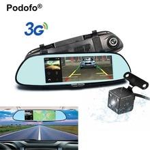 Podofo 7 «Touch 3g автомобиля Камера с Smart Зеркало заднего вида монитор Двойной объектив DVR Registrar 1080 P видео Регистраторы Dashcam автомобиль dvrs