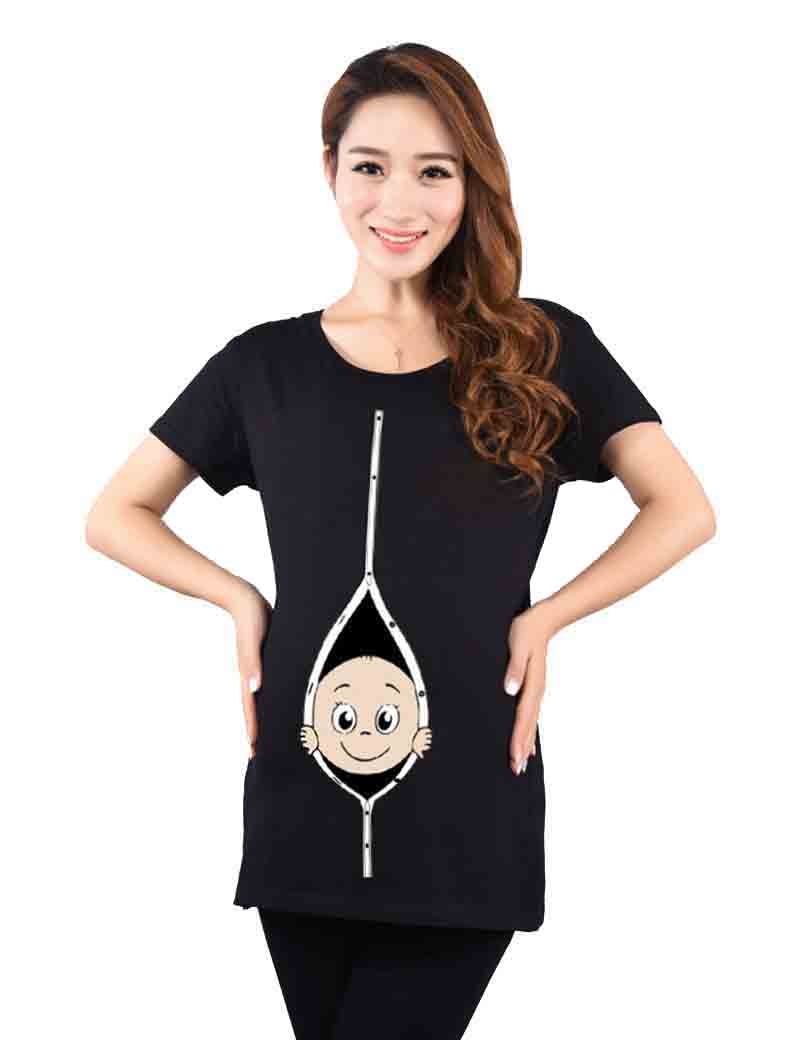 26b203d2 Casual Pregnancy Maternity T Shirts Cotton Fashion Pregnant Maternity  Clothes With Baby Peeking Out Funny Maternity Shirts