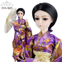 EVA BJD Surprise Japanese Girl 1/3 BJD Doll 60cm 24 inch Kimono Ball Jointed Dolls + Full Accessory