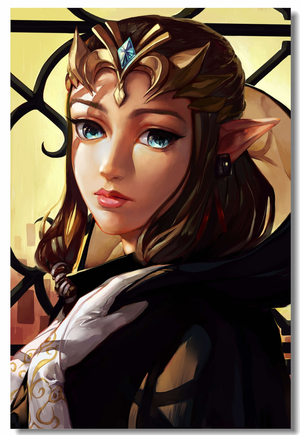 Custom Canvas Wall Painting Princess Zelda Poster Sexy Anime Girl