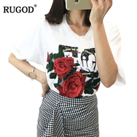 RUGOD 2018 Newest 3D Rose Embroidery Cotton T shirt Women Fashion Summer O Neck Short Sleeve T Shirt Tops Harajuku Tumblr Bts