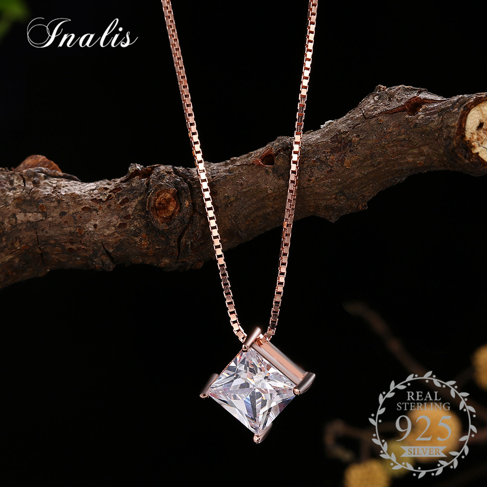 INALIS 925 Sterling Silver Women Square Pendant Necklaces Clear Zircon Fine Jewelry Rose Gold Necklace Women Accessories