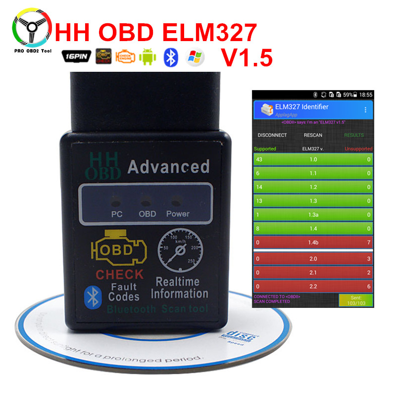 Latest ELM327 V1.5 Bluetooth Interface Support Most OBD2 Protocols HH OBD Elm 327 Code Reader Works On Android Torque Free Ship