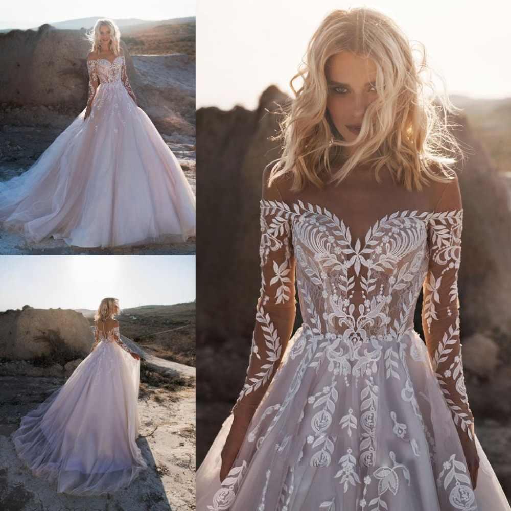 2019 בוהמי חתונת שמלות כבוי כתף ארוך שרוולי תחרת אפליקציות כלה שמלות לטאטא רכבת חתונה שמלת חלוק דה Mariee