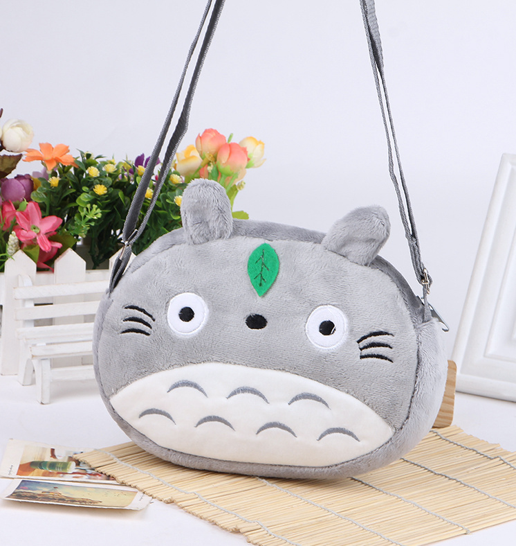 Kawaii TOTORO KID Satchel BAG Plush Children Kid's Satchel Messenger BAG , Plush Backpack BAG Pouch , 22*16CM Double Zippers