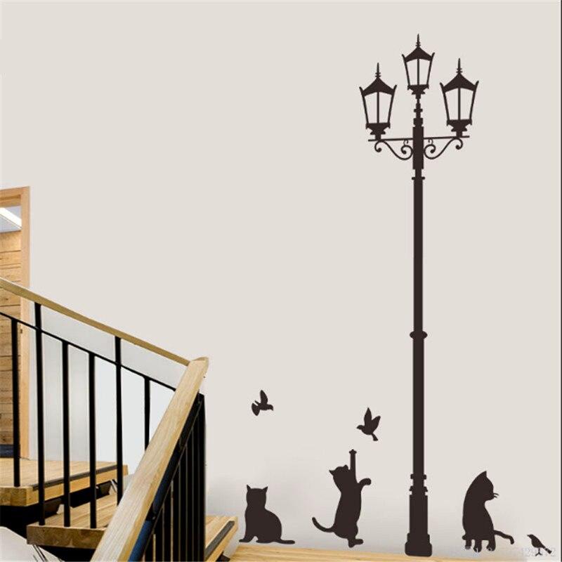 Venta Lámpara Cat Bird Extraíble Negro Pared de Vinilo Pegatinas Decoración Del