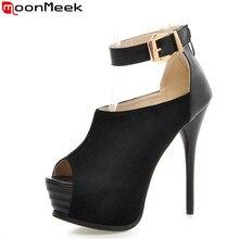 Moonmeeklarge размер 32-43 стилет высокие каблуки женщины насосы мода peep toe pleatform обувь simple лодыжки ремень элегантные туфли женщина