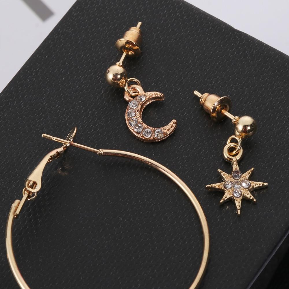 4Pc//Set Bohemian Large Circle Earrings Ear Clip Crystal Moon Stars Studs Jewelry