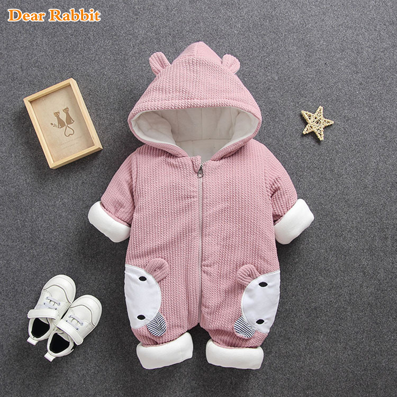 2019 New Baby Rompers Overalls  Clothes Winter Boy Girl Garment Thicken Warm Pure Cotton Outerwear Coat Jacket Kids Snow Wear(China)