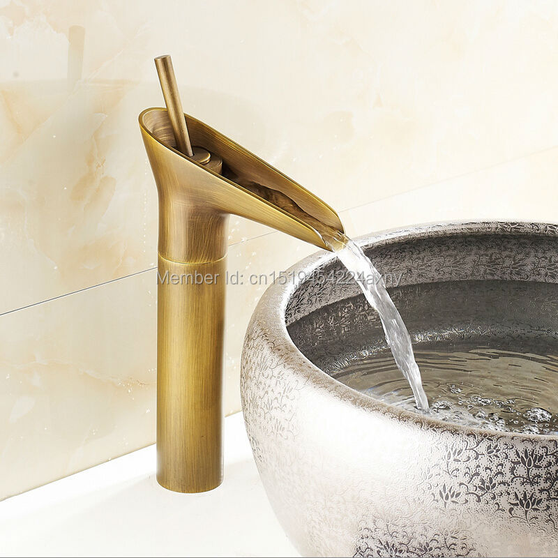 Gizero Bathroom Waterfall Faucet Basin Mixer Antique Copper Hot and Cold Sink Mixer Taps Deck Mounted GI49