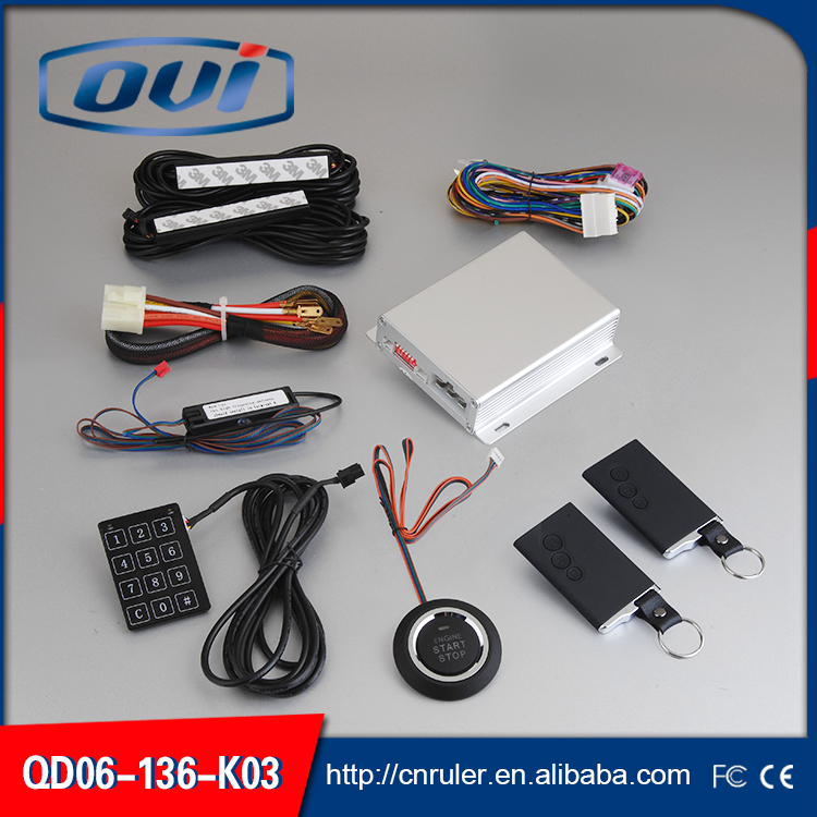Universal PKE Car Alarm System With One Way Alarm pke engine start stop Keyless Entry Remote