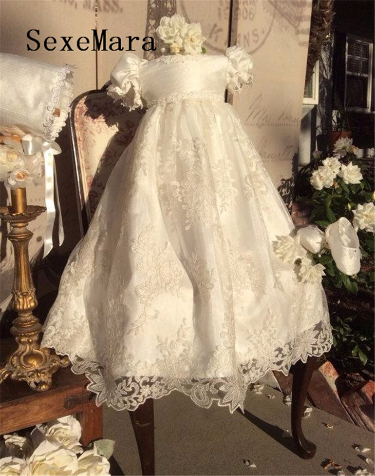Infant Baby Girl Christening Dress Todder Baptism Gown O Neck Lace Satin With Bonnet White Ivory Free Shipping цепочка с подвеской oem 5 f60ss0092 m1