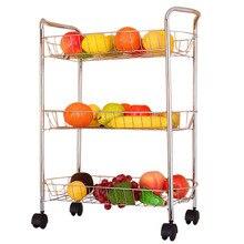 Kitchen Organizer Three Layers Storage Rack Fruits Vegetables Cooking Utensils Storage Organization Holder Shelves with Wheels