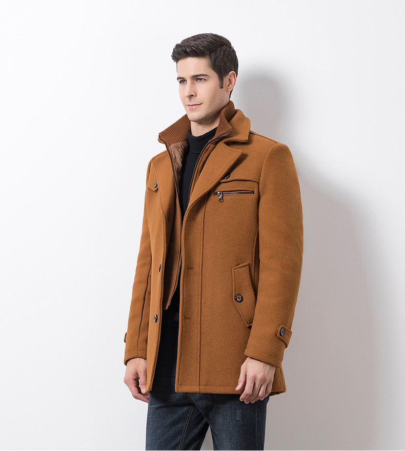 Winter Men's Casual Wool Trench Coat Fashion Business Medium Solid Thicken Slim Windbreaker Overcoat Jacket Male Plus Size 5XL 17
