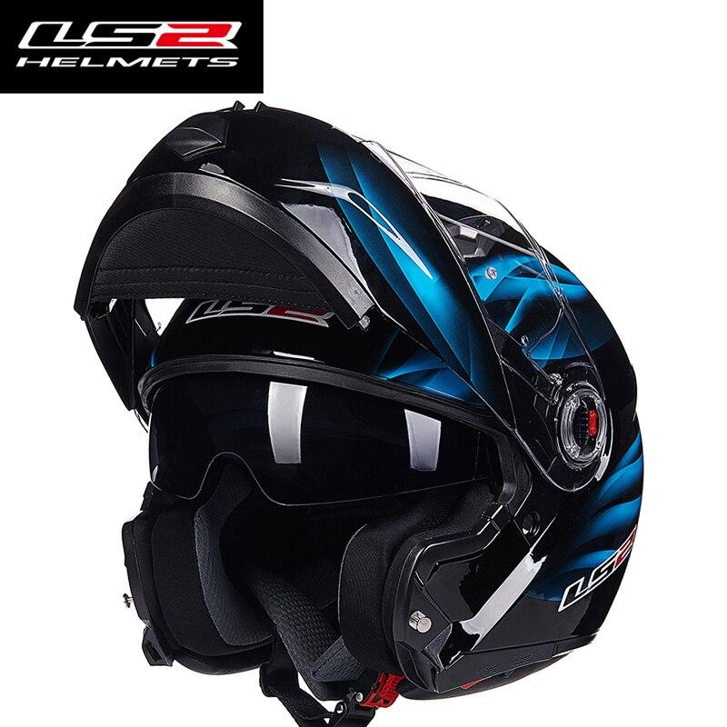 LS2 FF370 Hommes flip up casque de moto double bouclier avec intérieure ensoleillé lentille modulaire moto racing casques ECE l'europe homologué