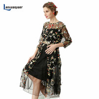 Lanxuanjiaer Pregnancy Photofraphy Shoot Dress Photo Shoot Studio Clothing Maxi Maternity Dress Round Neck Flower Gown