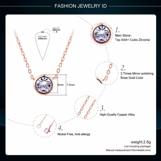 Small Round 1 carat Cubic Zirconia Rose Gold Pendant Necklace  6