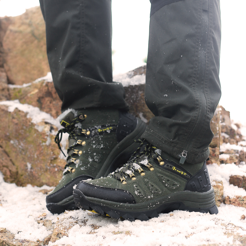 Large Size Unisex Outdoor Shoes Size 36-47 Mens Hiking Shoes Gray Brown Jungle Women Boots Comfortable Winter Fur Hunting Boots zan headgear neodanna gender mens unisex primary color white distinct name gun gangster size osfm wneolt101