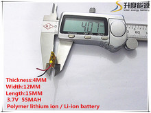 10pcs [SD] 3.7V,55mAH,[401215] Polymer lithium ion / Li-ion battery for TOY,POWER BANK,GPS,mp3,mp4,cell phone,speaker