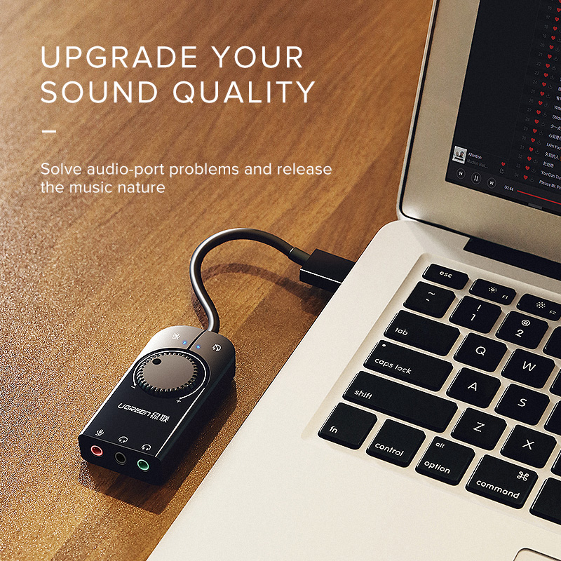 Ugreen Sound Card USB Audio Interface External 3.5mm Microphone Audio Adapter Soundcard for Laptop PS4 Headset USB Sound Card 2