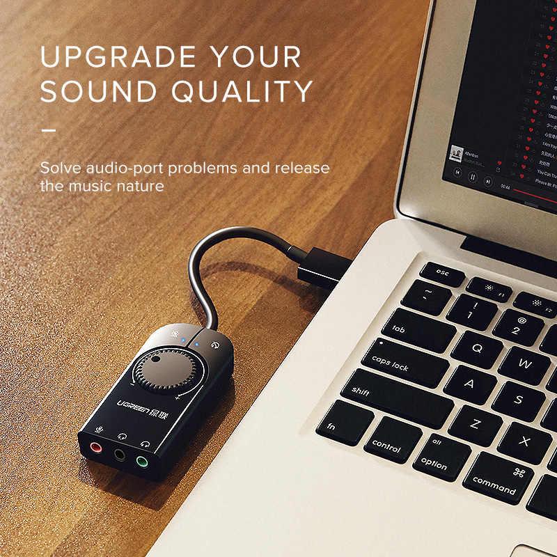 Ugreen звуковая карта USB аудио интерфейс внешний 3,5 мм микрофонный аудио адаптер Звуковая карта для ноутбука PS4 usb-гарнитура звуковая карта