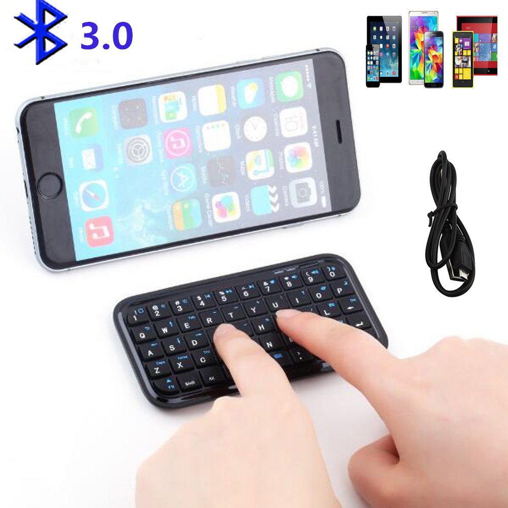 US $11 28 40% OFF|Pocket Mini bluetooth keyboard Rechargeable Li lion  Battery Wireless Keypads for iphone 4 /4s/5 /IPAD 2 3 4 AIR Android  System-in