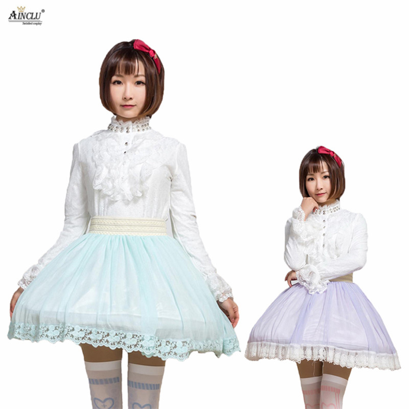 Sweet Princess Japanese Style Pleated Wrinkle Skirts Womens Lolita Lady Lace High-waist Short Skirts Thin Silver Chiffon Skirts