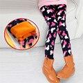 New Fashion Warm Winter Girls Leggings Velvet Flower Print Pants Children Kids Thick Pants 2-12Years Old Girl Trousers