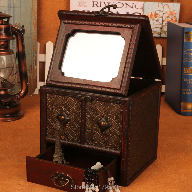 neceser de madera antiguo retro con cajas joyero espejo de maquillaje organizador de escritorio de escritorio
