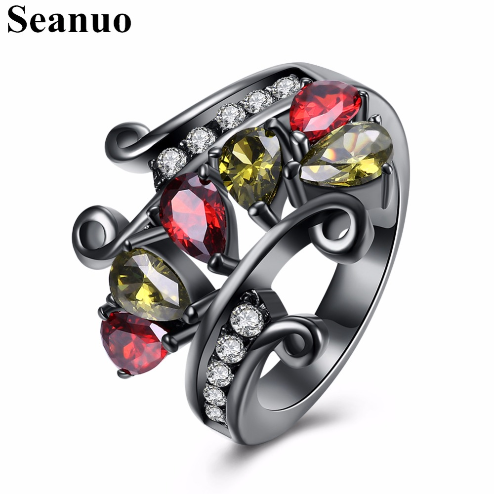 Seanuo Special Colorful Austrian Rhinestone Open Flower Sexy Party Ring For Women Fashion Charm Black Stainless Steel Lady Rings