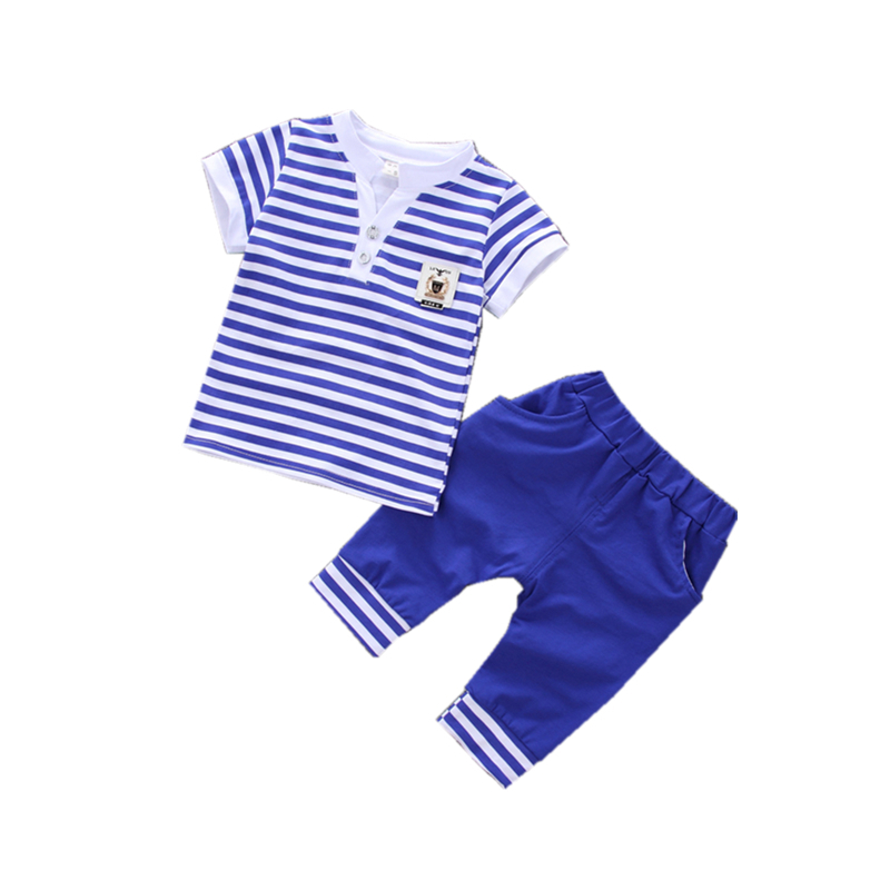 Fashion 2018 Summer Children Boys Girl Striped Clothes Baby Short T-shirt Pants 2 Pcs/sets Kids Clothing Sets Toddler Tracksuits