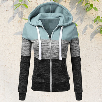 Women Sweatshirts Autumn Winter Hoodies Long Sleeve Hoody Ladies Zipper Pocket Patchwork Hooded Sweatshirt Female Outwear 1