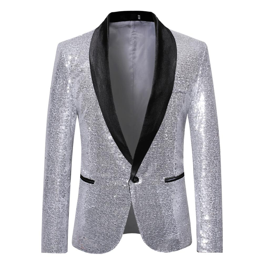 Men Blazer Casual One Button Shawl Collar Streetwear Suits&Blazer Vintage Solid Sequin Club Classic Mens Blazer Suit Jacket