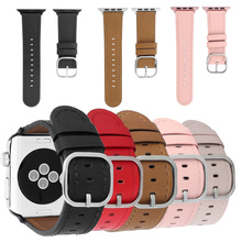 Classic Genuine Leather Watchband for IWatch Apple Watch 38mm 42mm 40mm 44mm Series 1 2 3 4 Watchband Buckle Wrist Strap