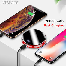 NTSPACE Mini Power Bank Mirror Screen 20000mAh 2.1A Fast Cha