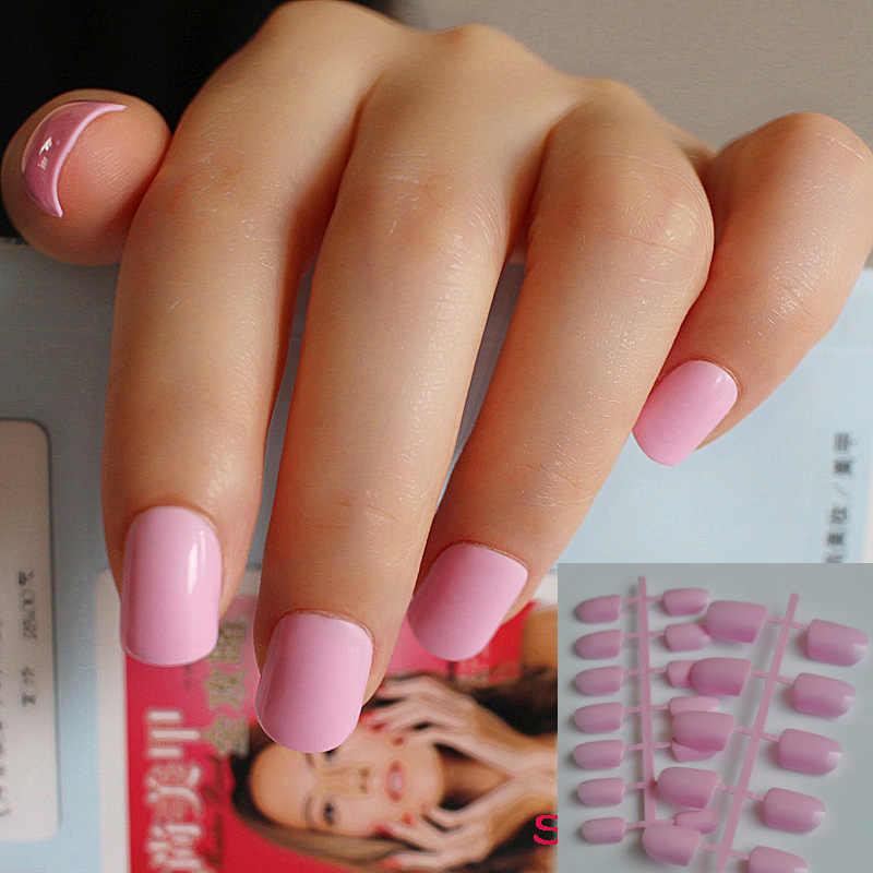 24 kawałki cukierków Manicure wykończone piękny kolor fałszywe paznokcie krótki rozmiar księżniczka różowa błyszcząca powierzchnia
