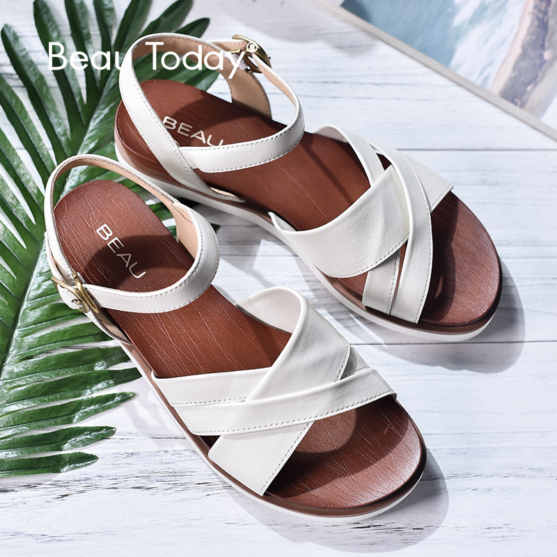 BeauToday Women Summer Sandals Genuine Leather Cross Tied Buckle Strap Top Quality Ladies Flat Shoes Handmade