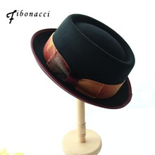 Fibonacci Autumn Winter Fashion Bowler Small Fedoras Solid Color Wool Felt Hat for Women Fedora