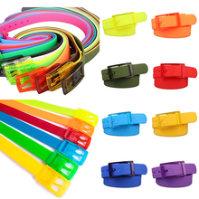 Candy Color Plastic Belts for Women Men Silicone Rubber Waistband New Plastic Buckle Pins Jeans Belts Summer Skinny Waist Belt
