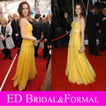 Kate Beckinsale at 14th Annual Sag Awards Red Carpet Organza Yellow Tiered Celebrity Evening Gown Long Prom Dress