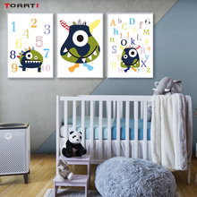 Colorful ABC Letters Prints Posters Cartoon Animal Canvas Painting On The Wall Modern 123 Quote For Kids Nursery Home Decor Art