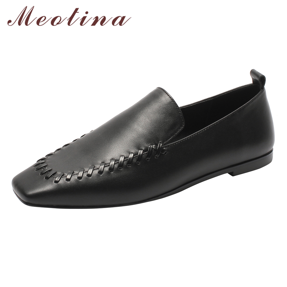 Здесь можно купить  Meotina Women Ballet Flats Shoes Natural Genuine Leather Flat Loafers Shoes Cow Leather Square Toe Casual Shoes Spring Size 3-9  Обувь